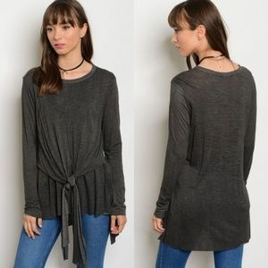 NEW Tie Front Tunic - Charcoal
